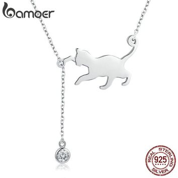 BAMOER Fashion Genuine 925 Sterling Silver Cute Cat Chain Pendant Necklace