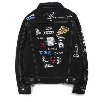 ONETOW C2H4 x HIYASET Fashion Graffiti Print Distressed Denim Cardigan Jacket Coat