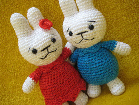 Amigurumi Bunny Girl : Amigurumi bunny boy and girl animal toy from Millionbells ...