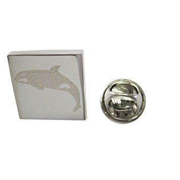 Silver Toned Etched Jumping Killer Whale Orca Lapel Pin