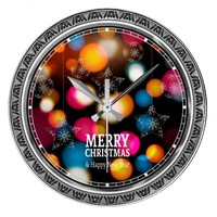 Christmas Colorful Sparkles Ornamental Wall Clock
