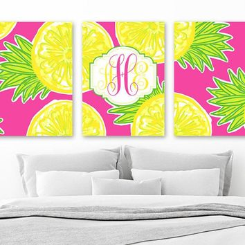 Girl MONOGRAM Wall Art, Teen Bedroom Pineapple Decor, Yellow Hot Pink Lime Monogram Wall Decor, Lilly Girl Nursery Canvas or Print Set of 3