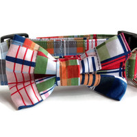 Plaid Bow Tie Dog Collar All Sizes