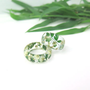 Real flower Resin ring, Nature ring, Flower ring, Real flower jewelry, Pressed flower jewelry, Flower in resin,  Botanical ring