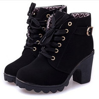 New platform high heel single shoes vintage Women Motorcycle Boots Martin Boots = 1946356164