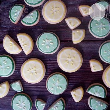 Citrus Sugar Cookies, segments, wedge, lemon, lime, orange, grapefruit, summer, lemonade, vanilla almond, yellow, green, food, cookies