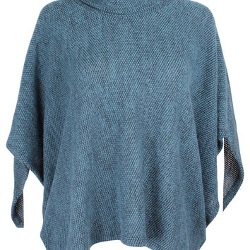 Teal Blue Knit Poncho