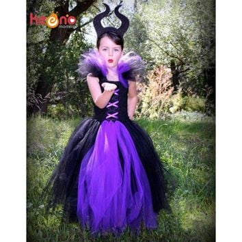 Keenomommy Handmade Maleficent Evil Queen Girl Tutu Dress Halloween Photo Prop Purim Kids Baby Fancy Costume TS127