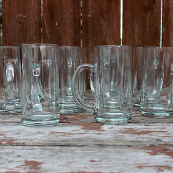 Vintage Set of Ten (10) Luminarc Bravo Glass Beer Mugs | 15 oz. Drinking Mugs | DIY Hipster Wedding Glass | Groomsmen Gifts