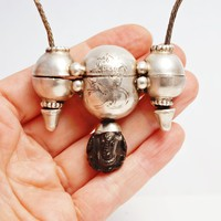 Vintage Silver Shiva Lingam Casket Necklace with Ganesh Protector