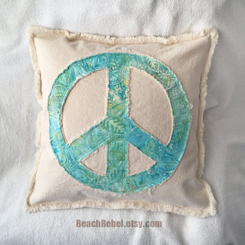 "Peace sign pillow cover aqua turquoise leaf design batik and distressed denim 16"" boho pillow cover"