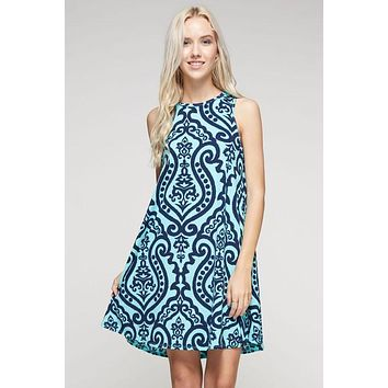 Summer Swing Dress - Mint and Navy Damask