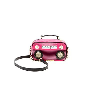 You'll be able to blast your favorite tunes from this clever boom box bag! This sleek little crossbody will crank out all the hits in style.