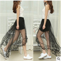 Casual See Through Sheer High Side Split Women's Black Pleated Chiffon Maxi Long Lace Skirt for free shipping WQC213