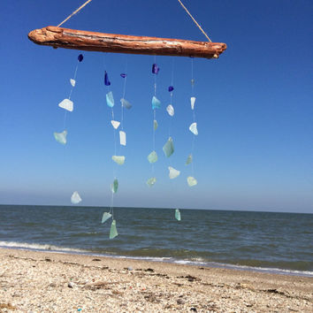Colors of the sea Large driftwood sea glass wind chime, sun catcher