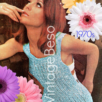 Top KNITTING PATTERN 70s EASY Tunic Knitting Pattern Retro Open Knit Pattern Sexy Summer Tunic Cover Up Instant Download PdF Pattern