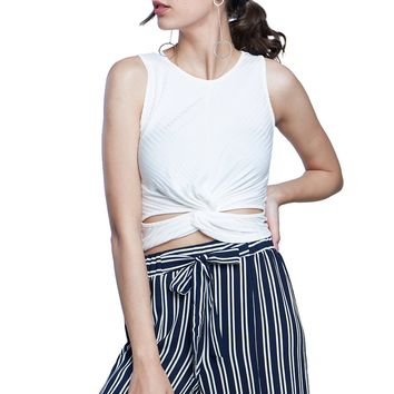 Summer Begins Ribbed Twisted Cutout Crop Top