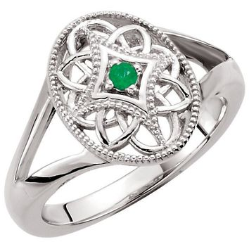 Sterling Silver 2mm Round Genuine Emerald Filigree Ring