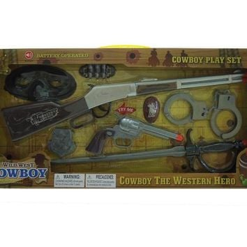 """Toy Gun Battery Operated Cowboy Set with sound (Battery Included) 19.5"""" - CASE OF 24"""