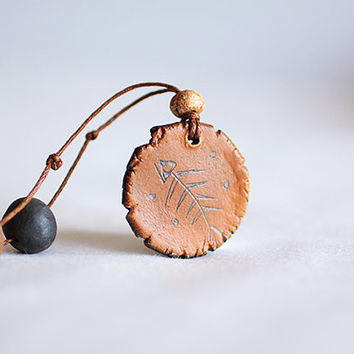 Ancient Greek brown ceramic clay adjustable necklace, Greek mythology jewelry, Fish necklace, leather pendant, sea jewelry, bohemian style