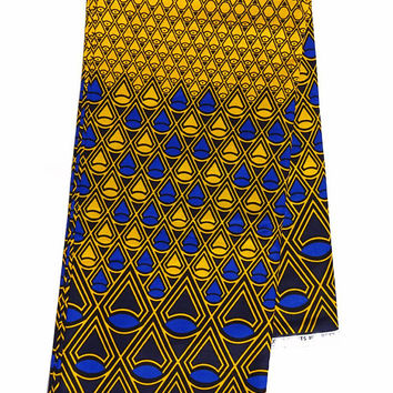 Ankara fabric Yellow blue African Textile by the Yard African Fabric Shop African Designs African Supplies African Wax print cotton fabric