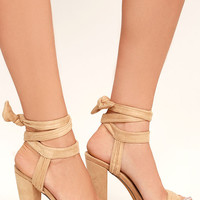 Corrine Nude Suede Lace-Up Platform Heels
