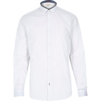 River Island MensWhite spot print long sleeve shirt