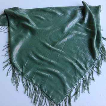 Green square head scarf, Birthday gift, Lush Green Fringe scarf, Best friend gift, Holiday gift, Hostess gift, Kelly Green shawl