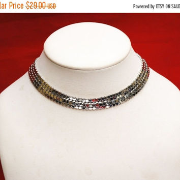 Whiting and Davis Silver Mesh collar necklace choker
