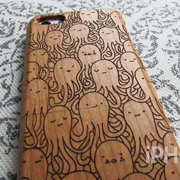 Wood iPhone 5c Case - Octopus Party, Real Wood Engraving, Marine Life, Eco Friendly, Sea Animals, Ocean, Cute iPhone Case, iPhone 5c Case