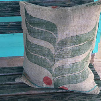 Grain Sack Pillow Cover Case- Coffee Sack- Gunny- Farm- Feed Sack- Upcycled- Burlap- Rustic- Farmhouse- Home Decor- Decorative Throw Pillow