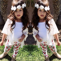 Girls Outfits Children's 3pcs sets Kids girl Tshirts+lace cotton cardigan+print floral cotton legging Baby girl clothes