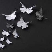 3D Butterfly Wall Art: 20 Metallic Silhouettes for Girls Room, Nursery, and Home Art Decor - Grey, Silver & White Mix