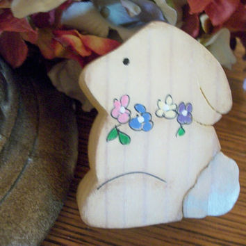 Bunny Rabbit Figurine Hand Painted Wood Easter Spring Farmhouse Cottage Shabby Home Decor Miniature