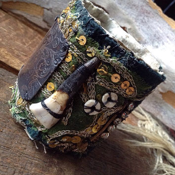 Salvaged textile and etched copper cuff: textile cuff, reclaimed fabric, steampunk cuff, tattered cuff,  Victorian tribal cuff, gothic cuff