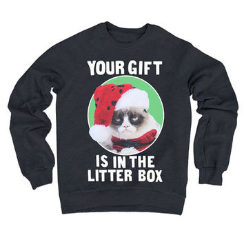 Grumpy Cat Your Gift Is In The Litter Box Fleece Sweater - Ripple Junction - Grumpy Cat - Sweatshirts at Entertainment Earth