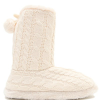 Black Poppy Cable Knit Slipper Boots at PacSun.com
