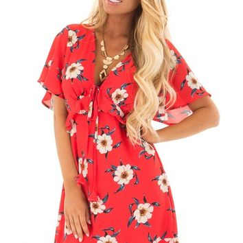 Scarlet Floral Print Dress with Ruffle Details
