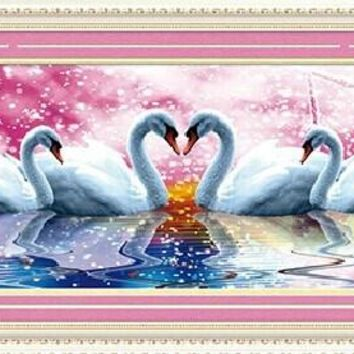 3D Animal Swan Lovers DMC Cross Stitch Kits 100% Printed Embroidery DIY Handmade Needle Work Wall Set Art Home Decor