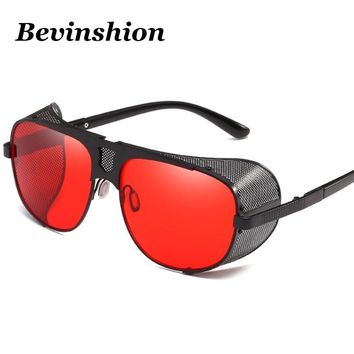 New 2018 Cool Steampunk Sunglasses Men Thick Frame Windproof Vintage Male Glasses Retro Pilot Sunglasses Punk Sun Shades Goggles