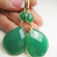 Large Green Onyx Gemstone Gold Bezel Set Earrings - Bezel Set Earrings - Onyx Earrings - Green Earrings - Statement Earrings