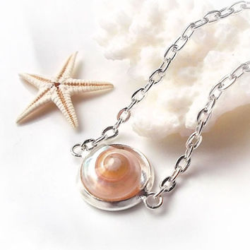 Seashell necklace, small pink shell necklace, dainty necklace, bridal bridesmaid beach wedding jewelry