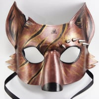 Copper Battle Spike Fox Mask, Handmade to order, animal masquerade mask, masked wedding, masquerade ball, horror fox mask