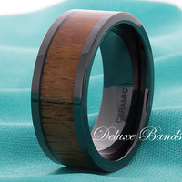 Wood CeramicWedding Band,Mens Ceramic Ring,Ceramic Wood Inlay Ring,Pipe Cut,9mm,Wood Inlay Ceramic Band,Mens Ceramic Band, Anniversary Ring