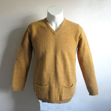 Vintage 1960s Ochre Sweater Wool Yellow Gold TexturedKnit Mens Jumper Medium