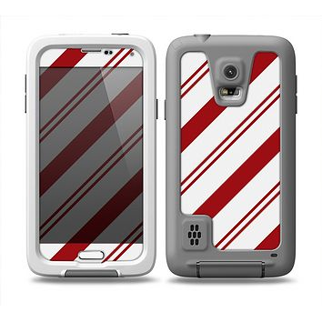 The Red and White Slanted Vector Stripes Skin Samsung Galaxy S5 frē LifeProof Case
