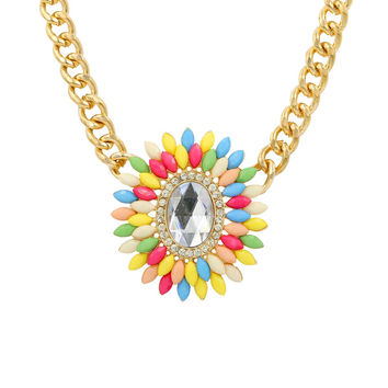 Multi-Colour Floral Pendant Chunky Chain Necklace / NB11001