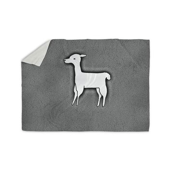 "Monika Strigel ""Llama One"" Grey Sherpa Blanket"