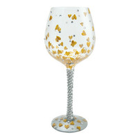 Heart Of Gold Bejeweled Wine Glass | Hand Painted Wine Glass|Designs by Lolita | Official Lolita Store