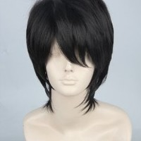 Black Short Straight Heat Resistance Cosplay Wig Anime Show & Party & Performance Hair Full Wigs